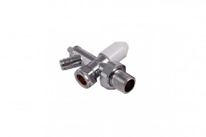 Cosmos Lockshield Radiator Valve With Drain Off Valve - Chrome