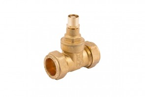 C X C Gatevalve Lockshield - Brass 22mm